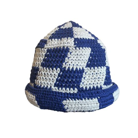 Blue/white,Check,Hat,Crochet yin yang bucket hat cotton check checkerboard