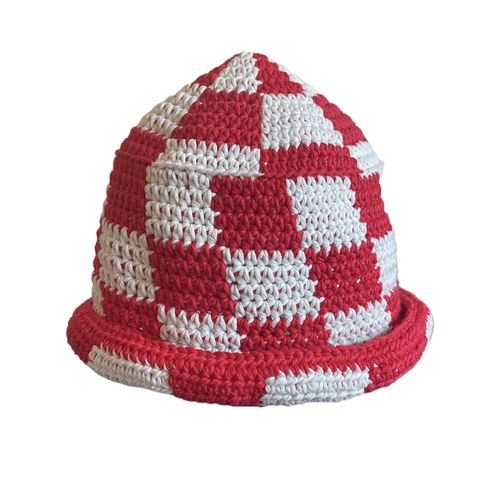 Red/white,Check,Hat,Crochet yin yang bucket hat cotton check checkerboard