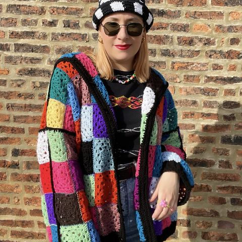 Granny,Square,Upcycled,Cardigan,Upcyled cardigan harry styles oversized colourful patchwork rainbow