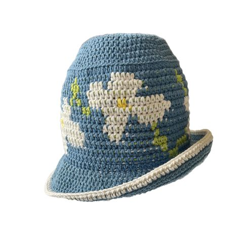 Floral,Crochet,Hat,Crochet yin yang bucket hat cotton check checkerboard floral