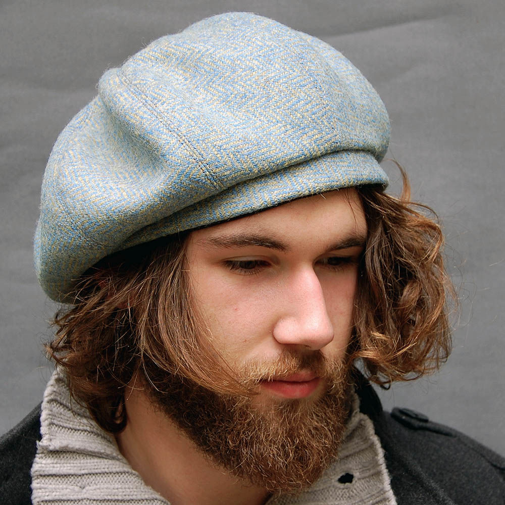 Blue Scottish tweed beret 670bc755f8b