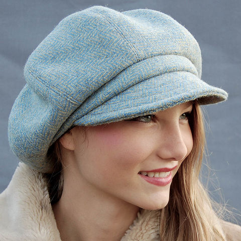 Grey and yellow Harris tweed hat ZUTmanon - ZUT hats 378fb8df634