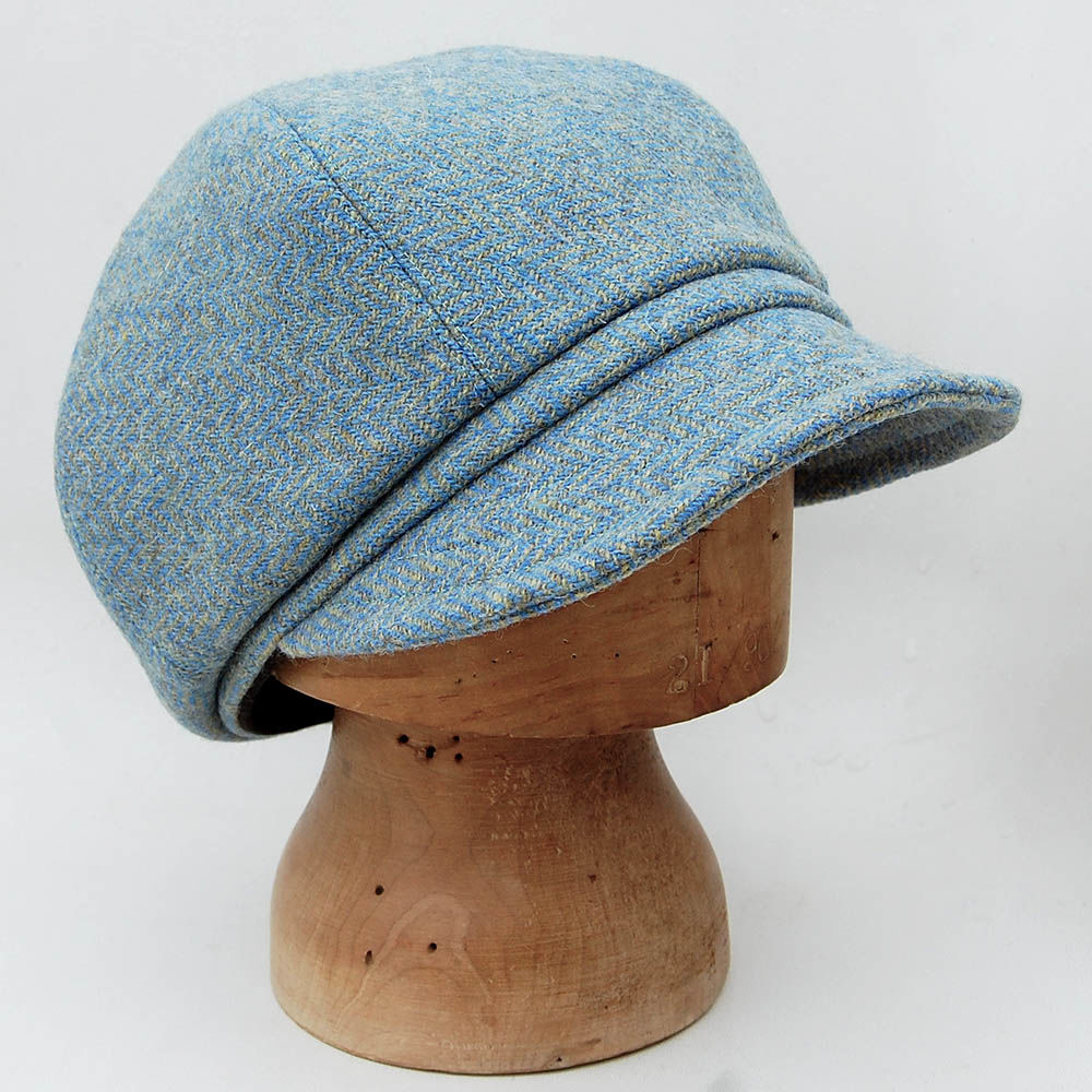 c7225185a2bb9 Blue Harris tweed newsboy cap ZUTjean - ZUT hats