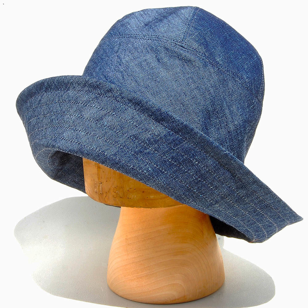 6389c8dd ... Indigo linen wide brim sun hat ZUTraymonde - product images of ...