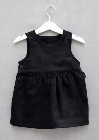'Bonnie',black,corduroy,baby/toddler,pinafore,dress,Trendy baby fashion, trendy toddler fashion, trendy, black, pinafore, dress, skandinavian, style, children, corduroy