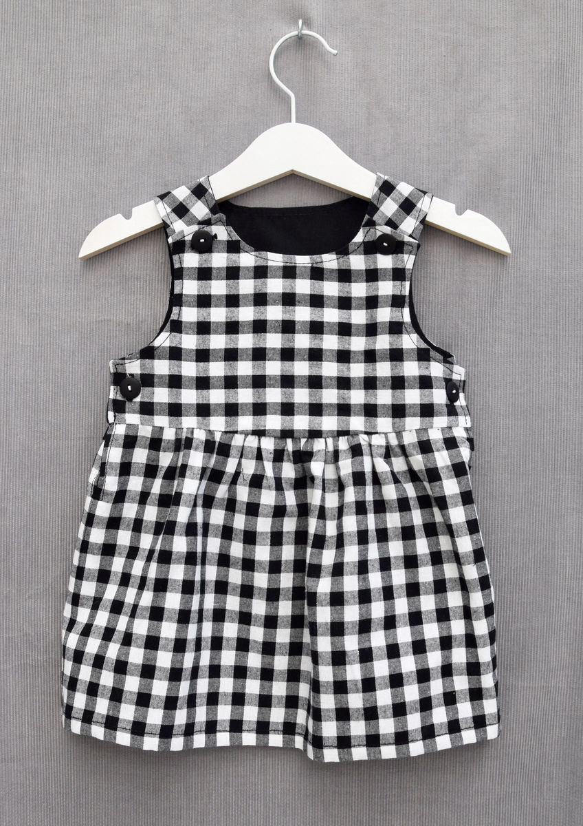 'Grace' monochrome gingham baby/toddler dress - product images  of