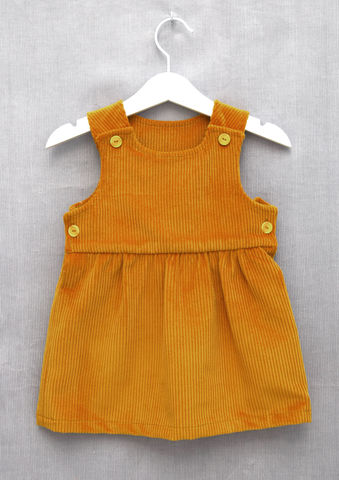 'Mia',gold,mustard,corduroy,baby/toddler,pinafore,dress,Trendy baby, trendy toddler, trendy baby clothes, trendy toddler clothes, vintage style baby clothes, mustard, pinafore, dress, skandinavian, style, children, corduroy