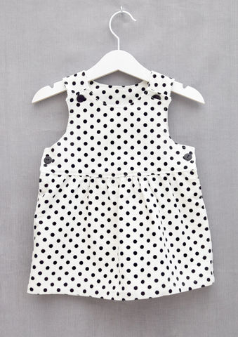 'Sophie',monochrome,needlecord,baby/toddler,pinafore,dress,Trendy baby, trendy toddler, trendy, Toddler fashion, black, white, pinafore, dress, skandinavian, style, children, cotton, spots