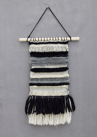 Neutral,tones,woven,wall,hanging,woven wallhanging, decor, home, style, boho, stylish, handmade, unique, monochrome, stripes, texture