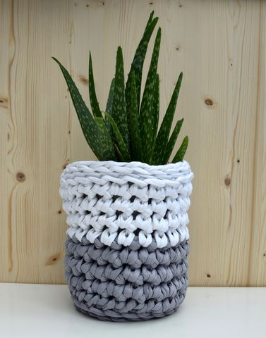 Grey,and,white,crochet,basket,storage basket, plant pot cover, crochet, white, grey, textured, chunky stitch
