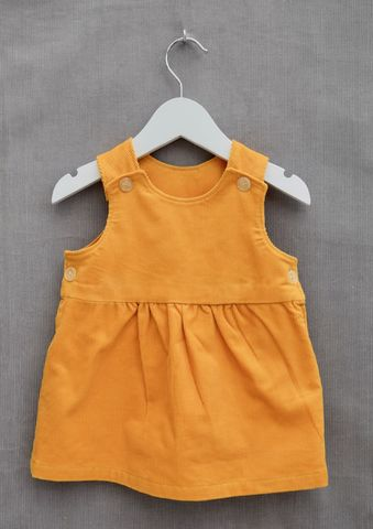 'Daisy',yellow,needlecord,baby/toddler,pinafore,dress,Trendy baby clothes, trendy toddler clothes, trendy baby dress, trendy toddler dress, yellow, toddler, baby, needlecord, pinafore, dress, skandinavian, style, children,cotton