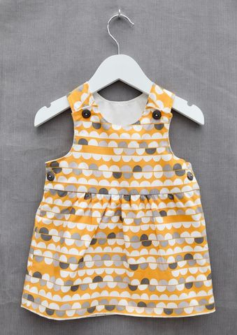 'Lola',mustard/cream/grey,print,baby/toddler,dress,Trendy baby clothes, trendy toddler clothes, trendy, toddler, baby, mustard, grey, white, pinafore, dress, skandinavian, style, children,cotton
