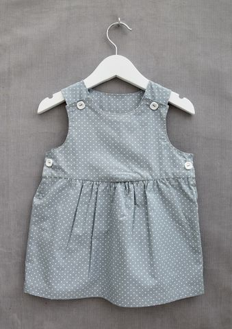 'Charlotte',polka,dot,print,baby/toddler,dress,Contemporary baby girl, French grey, trendy baby dress, trendy toddler dress, pinafore dress, baby, toddler, green, grey, cotton, contemporary, classic.scandinavian