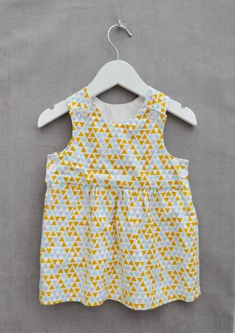 'Holly',geometric,print,baby/toddler,dress,Trendy baby, trendy toddler clothes, baby shower gift idea, Baby dress, pinafore dress, toddler dress, cotton, geometric, mustard, Scandinavian style, contemporary style baby dress