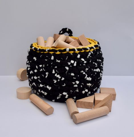 Storage,basket,-,mustard,top,storage basket, crochet, white, black, mustard, textured, chunky, contemporary, gift