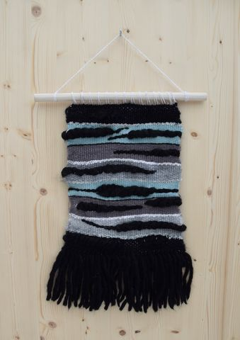 A,touch,of,sea,green,wall hanging, woven art, sea green, black, white, weaving