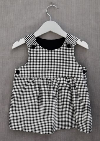 'Betsy',monochrome,checked,print,baby/toddler,dress,pinafore dress, baby, toddler,black,white.gingham,cotton, contemporary