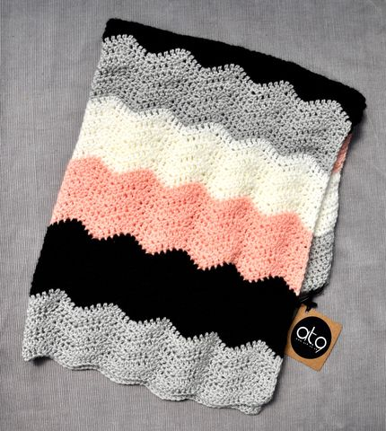 Contemporary,blanket,(blush,peach),baby blanket, contemporary, chevron, peach, cotton, black, white, grey, stroller blanket, baby shower