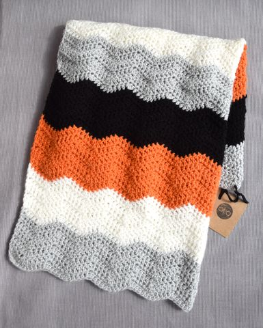 Contemporary,blanket,(orange),baby shower gift, baby blanket, contemporary, toddler blanket, stroller blanket, monochrome, grey, black, white, orange, stripes