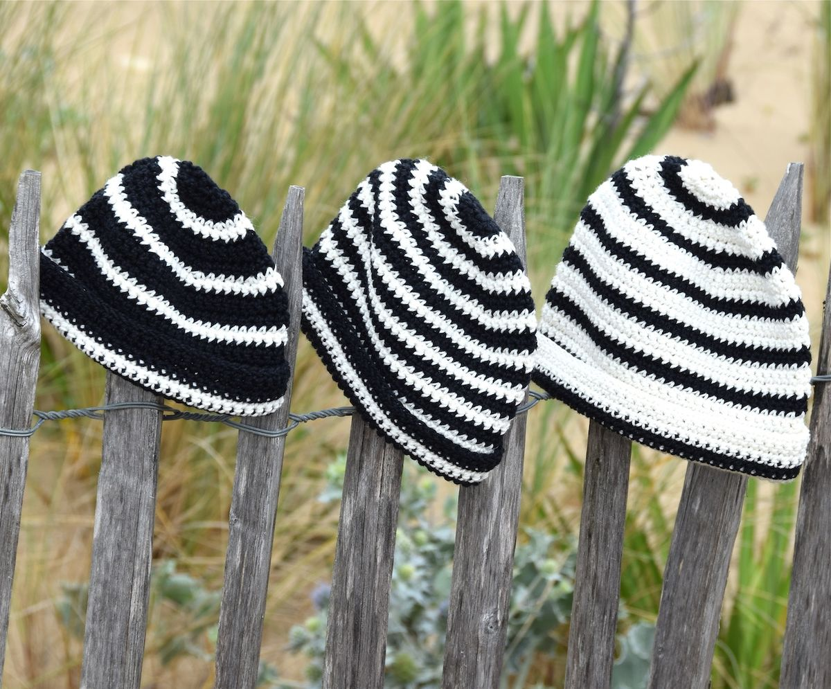Baby/toddler striped Breton style beanie hat - product images  of