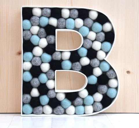 Decorative,alphabet,letter,(mint,blue/green,accent),filled letter, decorative letter, alphabet letter, nursery decor, black, white, grey. mint blue green, contemporary