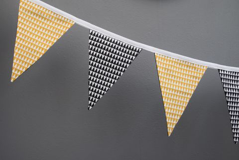 Contemporary,monochrome,and,mustard,bunting,contemporary bunting, monochrome, mustard, black, white, geometrics, triangles, nursery decor