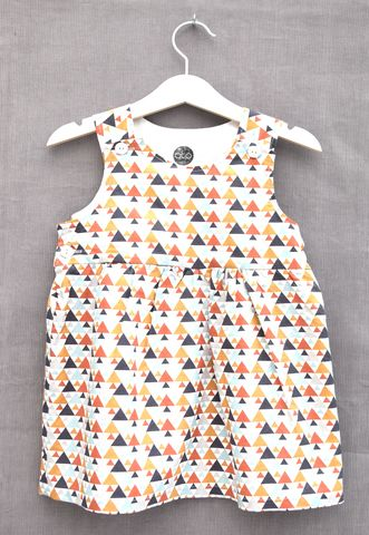 'Tara',geometric,print,baby/toddler,dress,Trendy baby clothes, trendy toddler clothes, contemporary, geometrics, baby dress, toddler dress, modern print, cotton, triangles, grey, spice brown