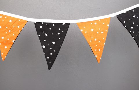 Contemporary,bunting,garland,(monochrome/orange),contemporary bunting, garland, monochrome, orange, black, white, stars, nursery decor