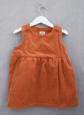 Riley,corduroy,baby/toddler,pinafore,dress,(terracotta),terracotta, pinafore dress, toddler, baby, corduroy, fashion, autumn colours, trendy kids, trendy toddler clothes