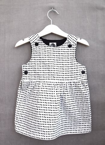 'Alice',monochrome,print,baby/toddler,dress,cotton, monochrome, toddler, baby, fashion, black and white, pinafore dress, everyday wear, minimalist, scandinavian style