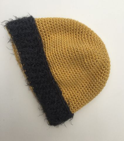 Mustard,baby/toddler,beanie,hat,with,grey,fur,effect,brim,Baby hat, toddler hat, beanie hat, mustard, fur brim, contemporary, modern, trendy, bowler hat, winter hat, girls hat, cotton hat, wool hat