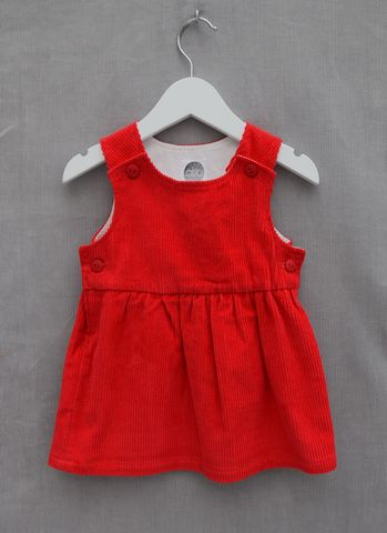 'Poppy',red,needlecord,baby/toddler,pinafore,dress, jumper, baby dress, toddler dress, corduroy, christmas outfit, traditional, contemporary, special occasion outfit