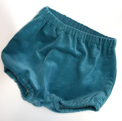 Corduroy,bubble,leg,bloomers,for,baby/toddler,bubble leg, bloomers, corduroy, teal blue, nappy cover, rompers, contemporary baby, trendy,