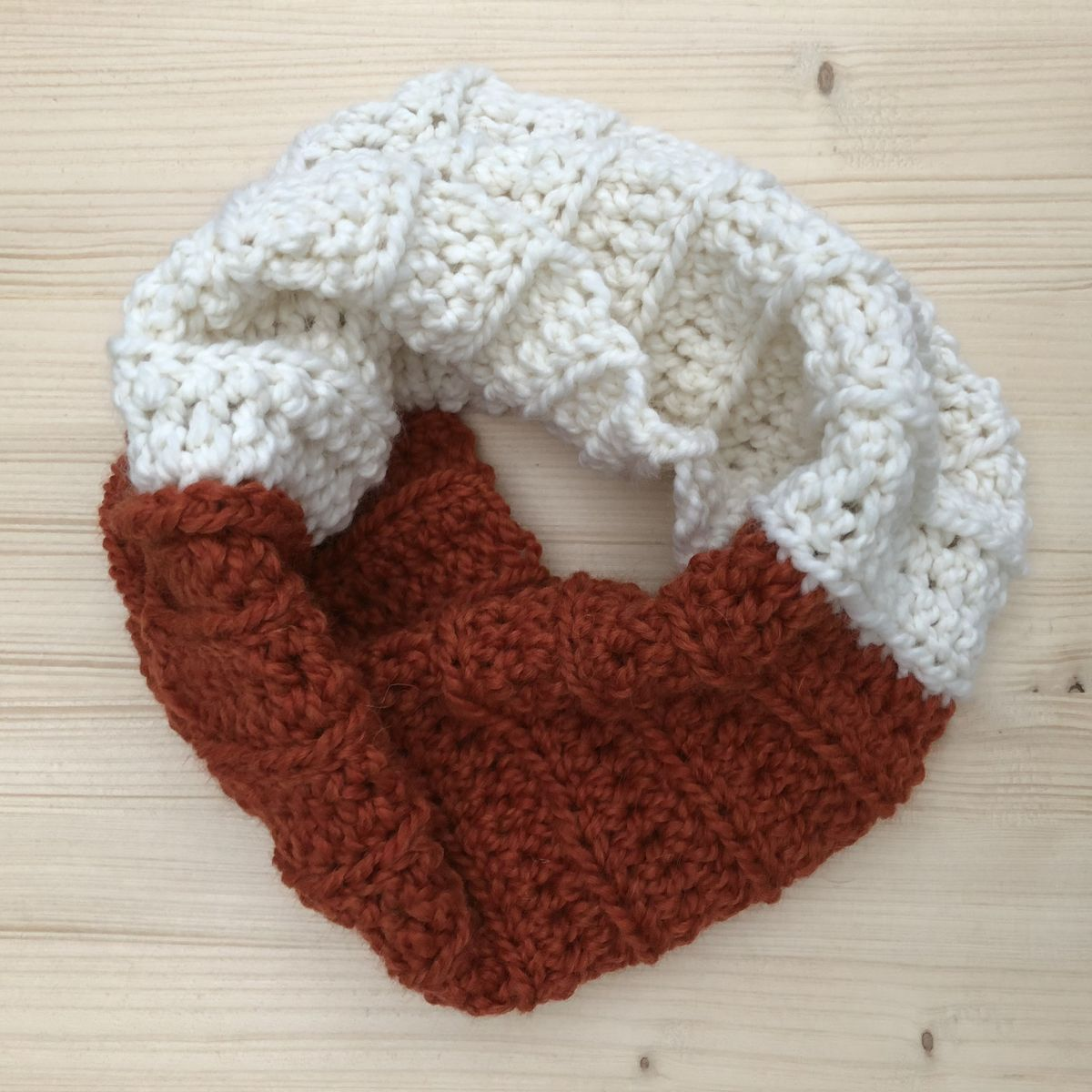 Colour block chunky infinity cowl scarf in wool/alpaca mix yarn - product images  of