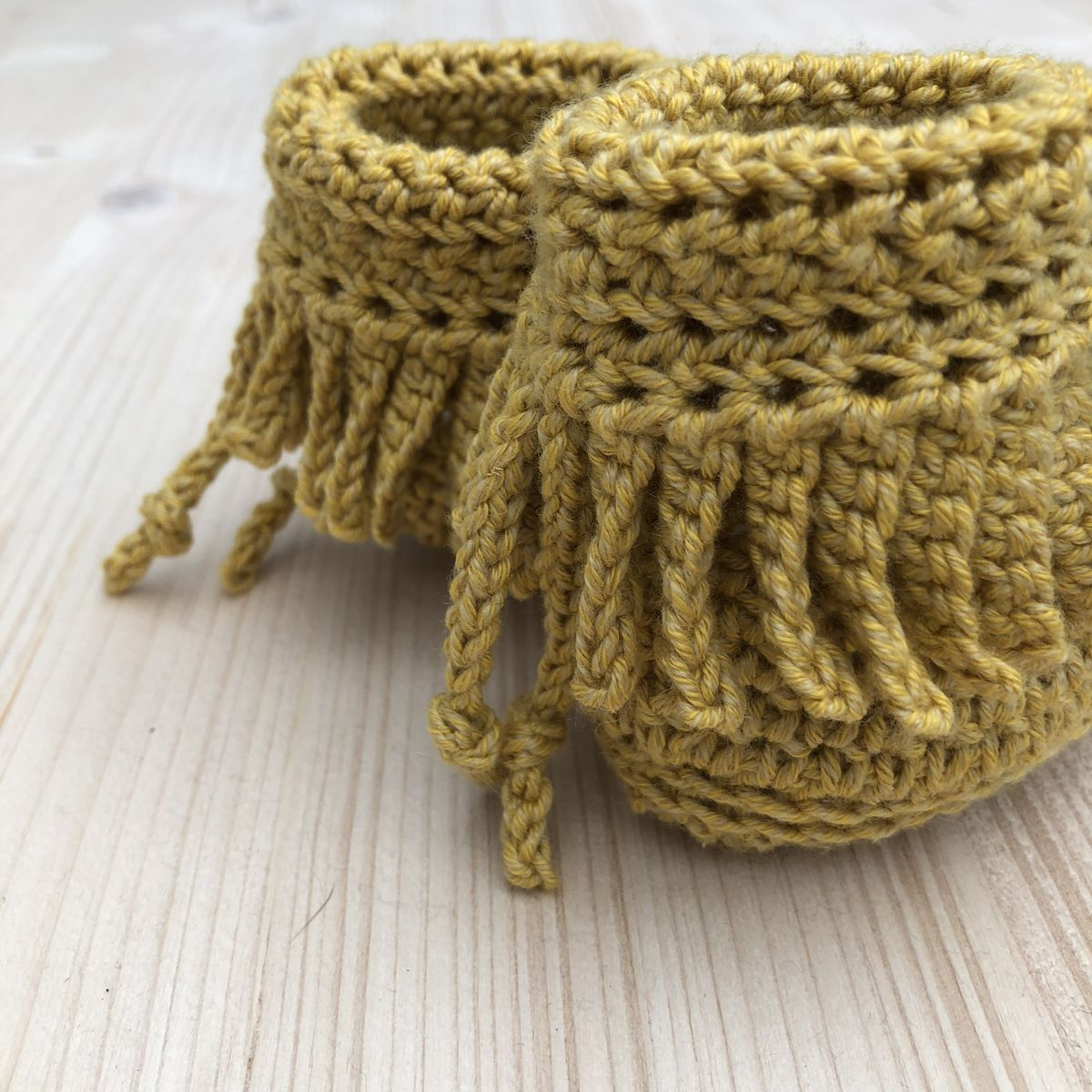 Baby moccasin style bootee/shoes (mustard) - product images  of