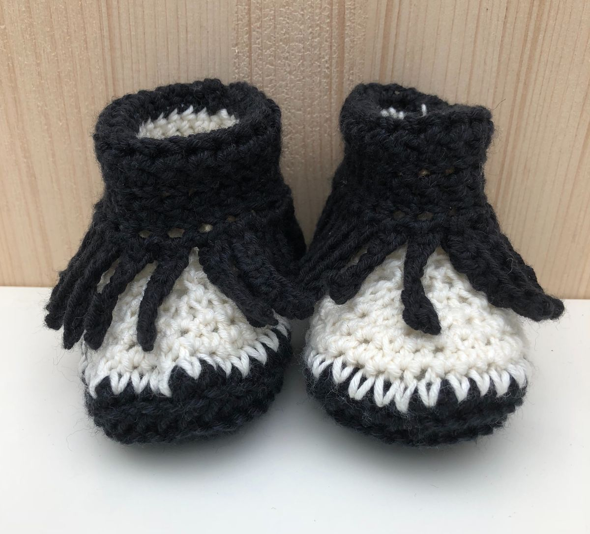 Baby moccasin style bootie/shoes (black/off white) - product images  of