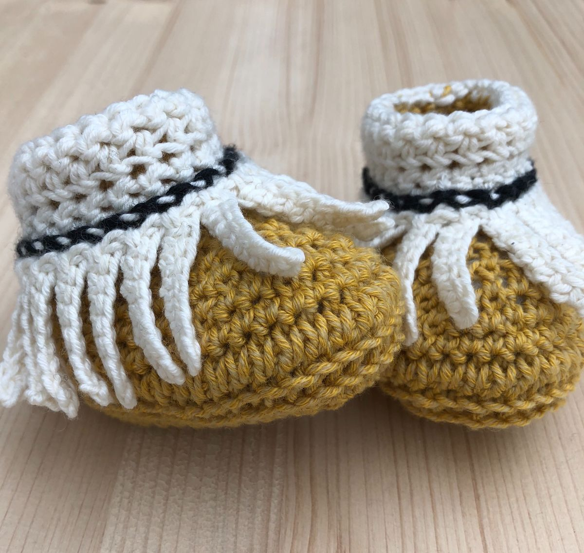 Baby moccasin style bootie/shoes (mustard/cream/black trim) - product images  of