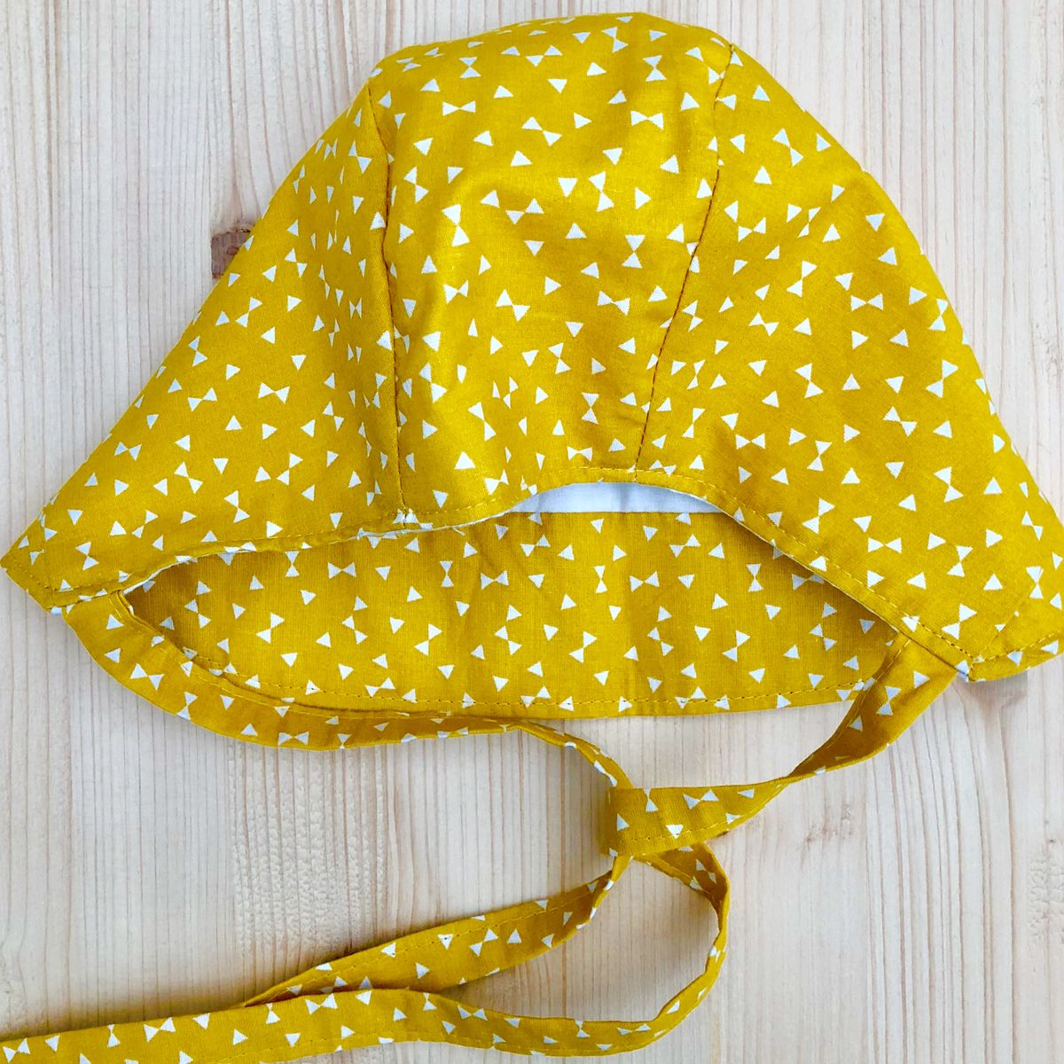 Baby, toddler bonnet - mustard and off white - product images  of