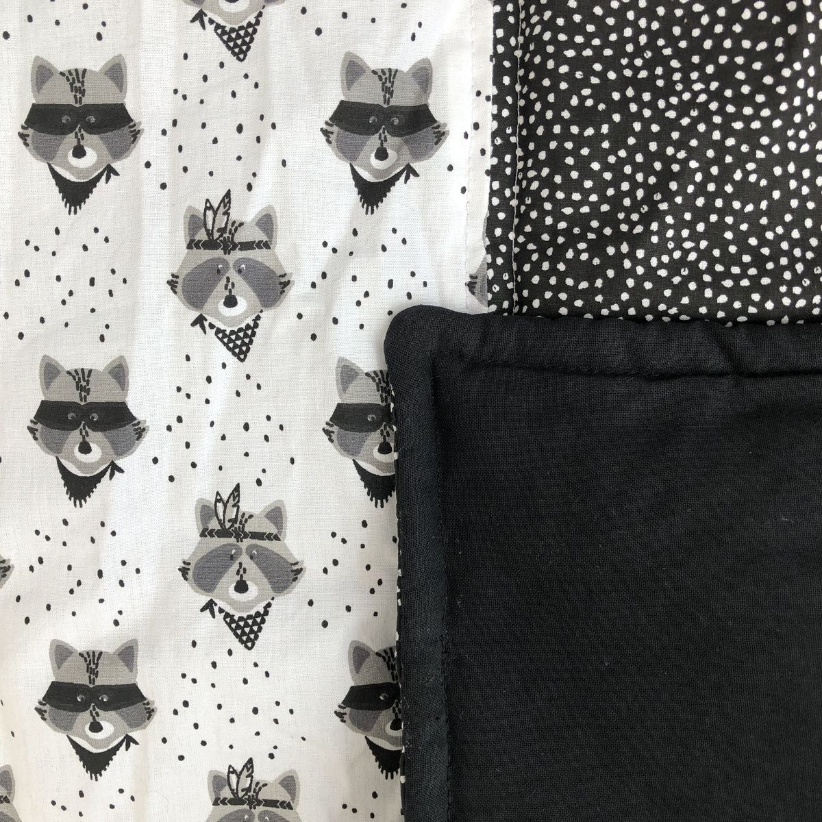 Contemporary baby, toddler play mat, monochrome, racoon print - product images  of