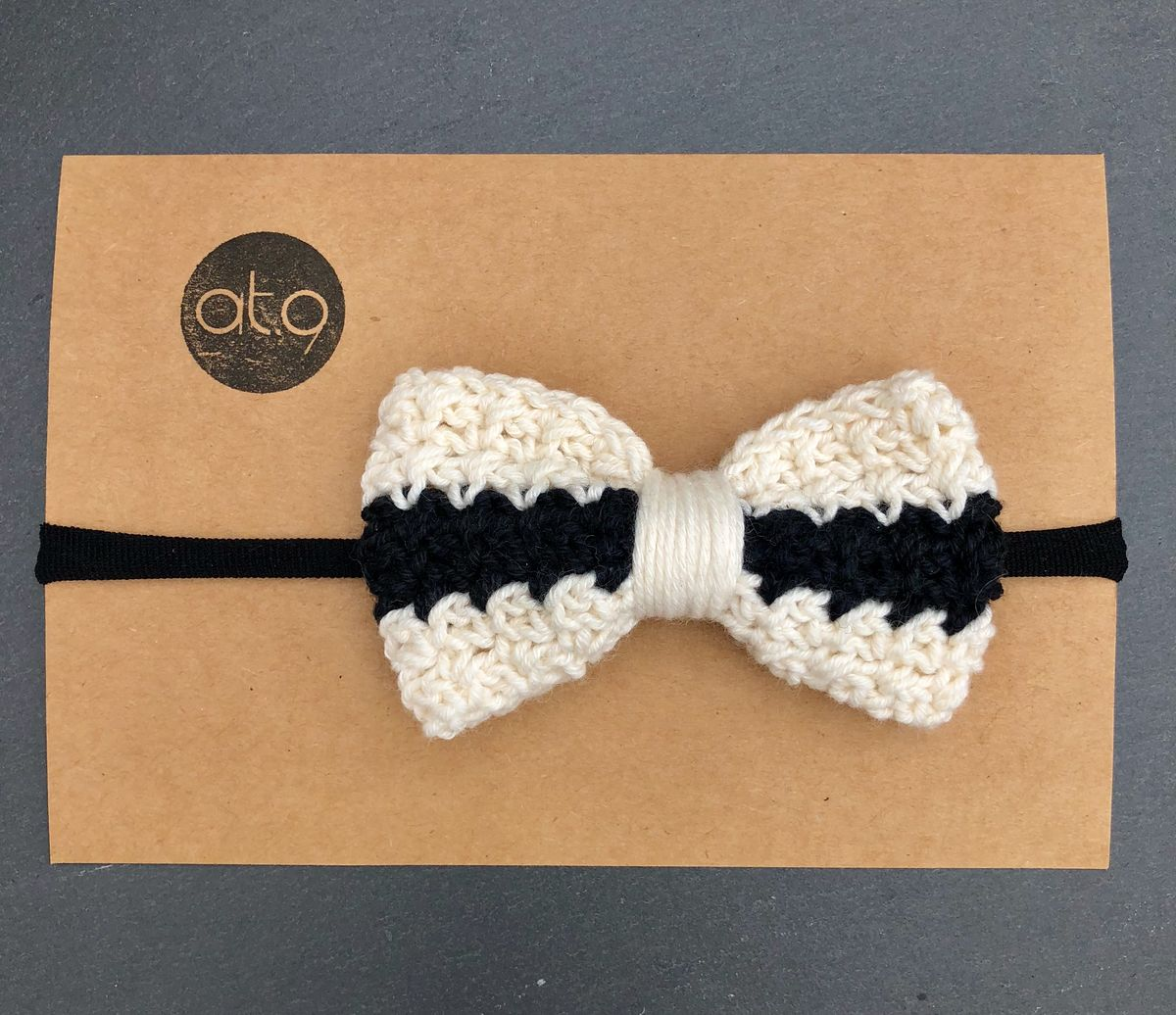 Bow hairband - black, black and off white stripe - product images  of