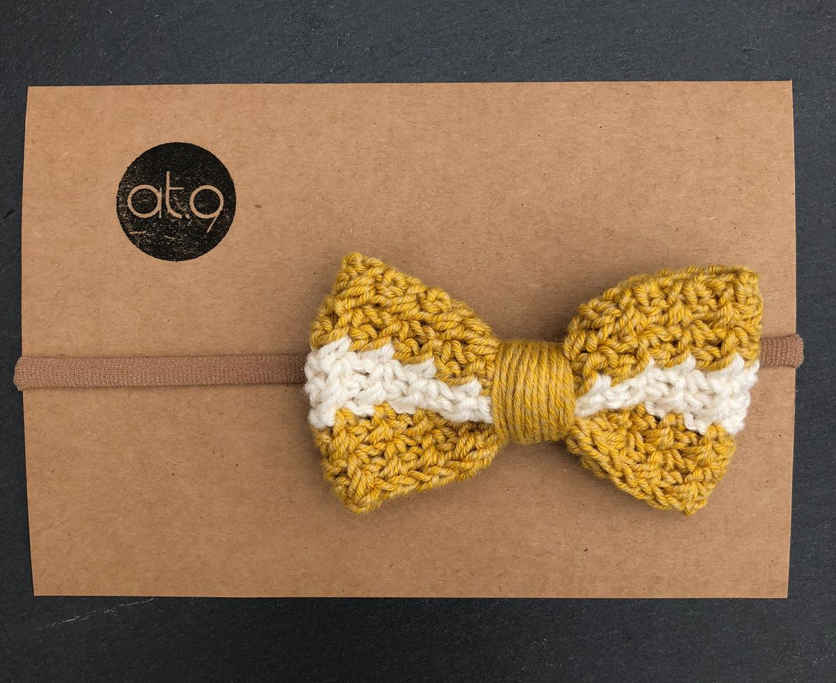 Bow hairband - mustard,  mustard and off white stripe - product images  of