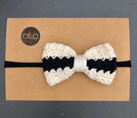 Bow,hairband,-,off,white,,white,and,black,stripe,Bow hairband, baby hairband, mustard, photo short, bow, cake smash, baby first birthday, toddler, toddler haitband