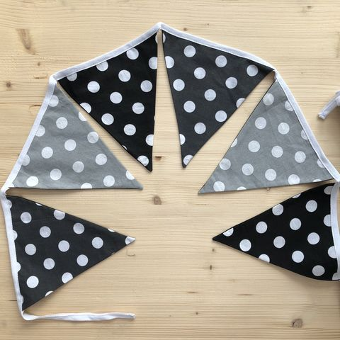 Contemporary,bunting,garland,(black,,white,,grey,,spots),contemporary bunting, garland, monochrome, grey, black, white, spots, nursery decor