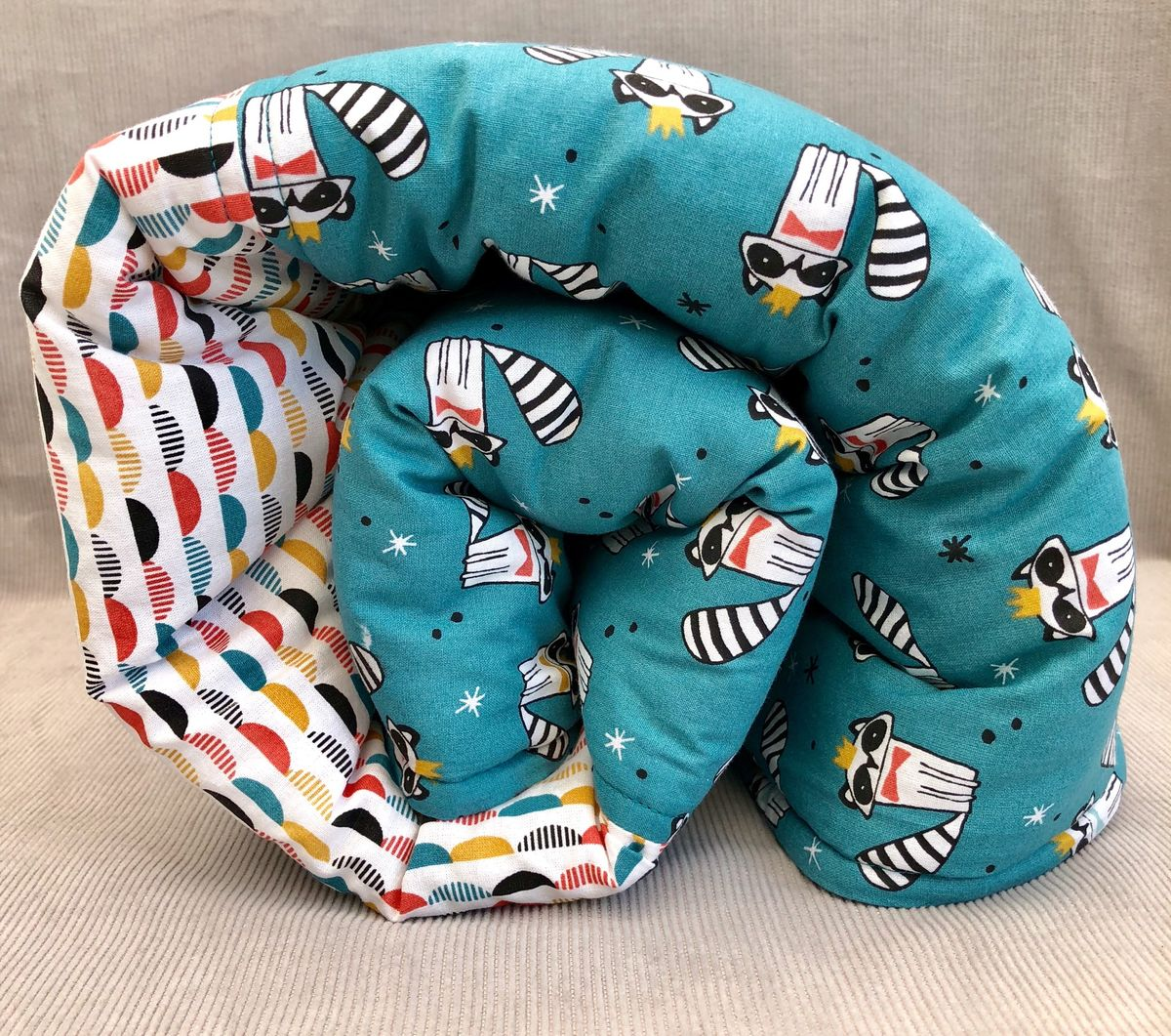Contemporary baby, toddler play mat, turquoise, racoon print - product images  of