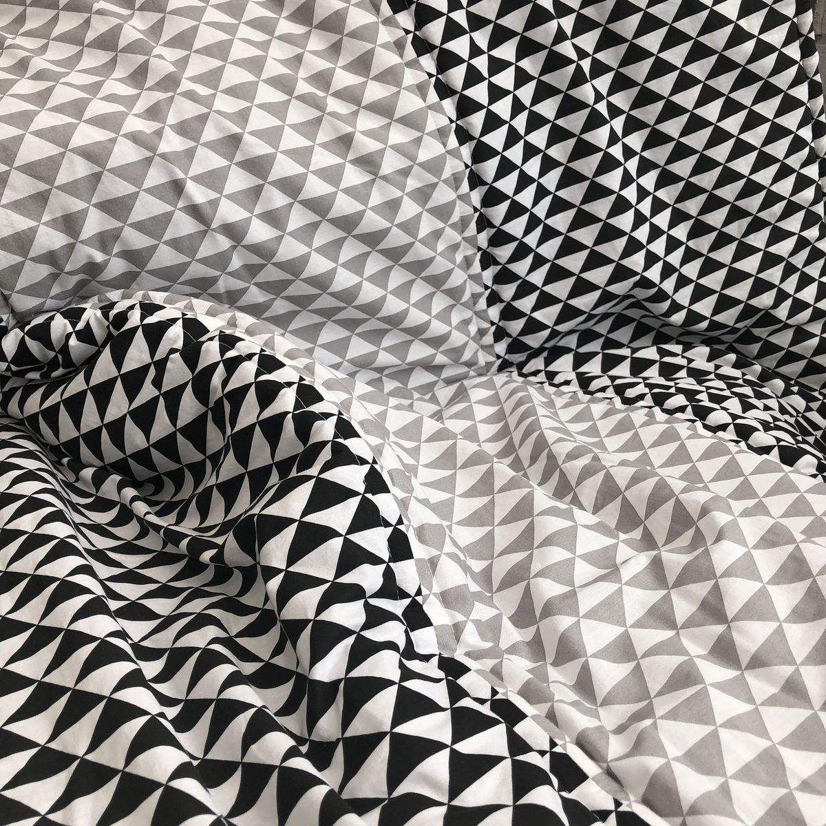 Contemporary geometric patterned quilted baby play mat, monochrome, grey - product images  of