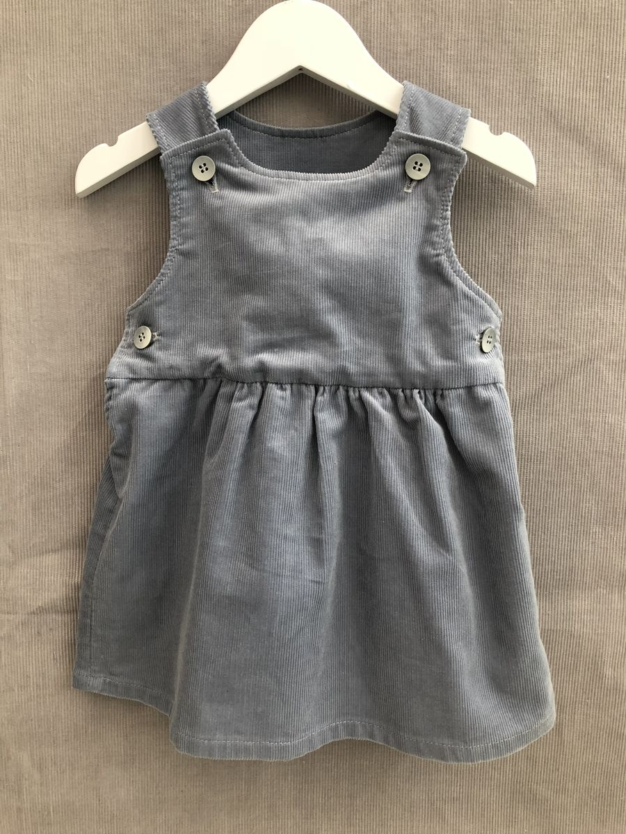 Pinafore dress, needlecord, grey blue - product images  of