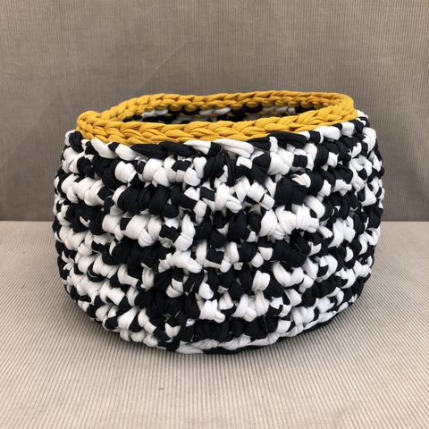 Storage,container,,basket,,plant,pot,cover, storage basket, crochet, white, mustard, nursery, textured, chunky, contemporary, gift