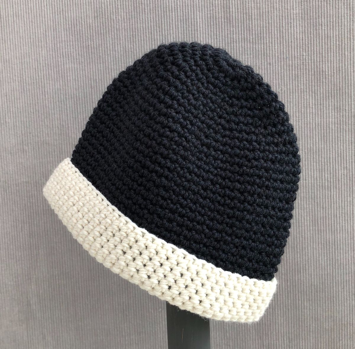 Baby, toddler beanie hat, black with cream brim - product images  of