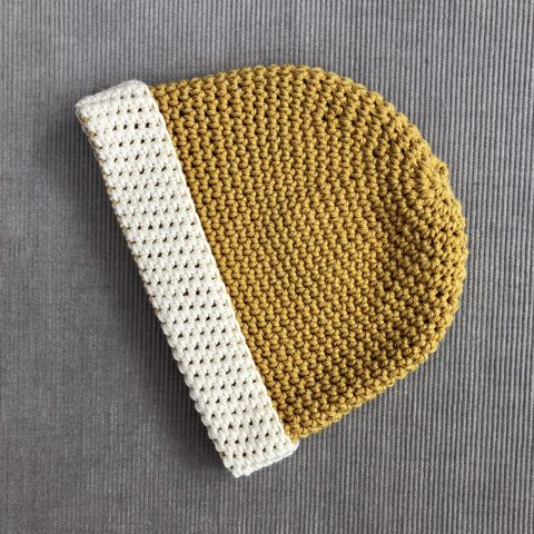 Baby,,toddler,beanie,hat,,mustard,and,cream,baby beanie hat, gender neutral hat, toddler beanie hat, baby accessory, cream, mustard, cotton, merino wool