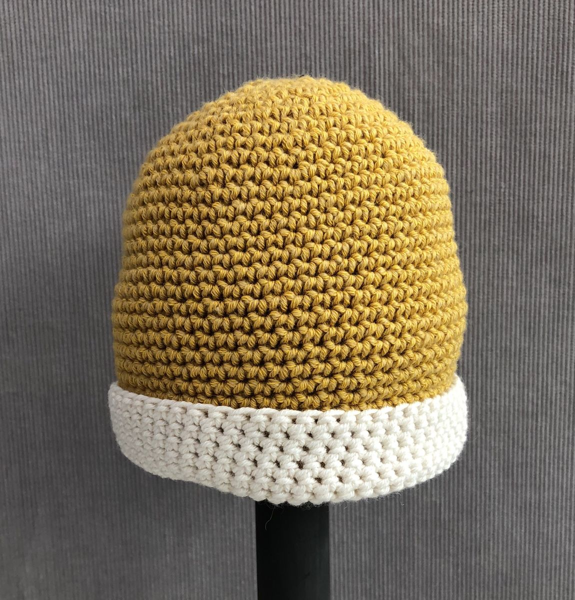 Baby, toddler beanie hat, mustard and cream - product images  of